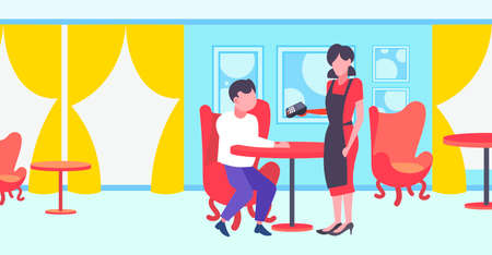 waitress holding electronic terminal man cafe visitor paying with a debit card cashless payment technology concept modern restaurant interior flat full length horizontal vector illustration