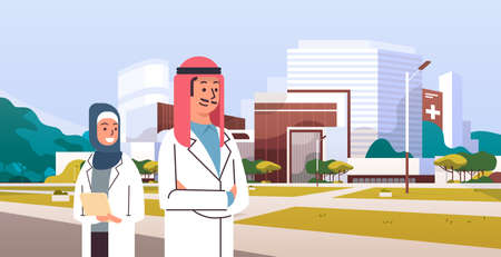 arabic couple man woman doctors in hijab and white uniform standing together in front of hospital building modern medical clinic exterior cityscape background portrait horizontal vector illustration