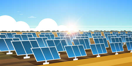 solar energy panel fields renewable station alternative electricity source concept photovoltaic district sunrise landscape background horizontal banner flat vector illustration
