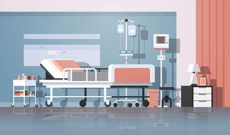 Sala de hospital moderna interior terapia intensiva sala de pacientes atención de enfermería cama sobre ruedas muebles de clínica ilustración vectorial horizontal Ilustración de vector