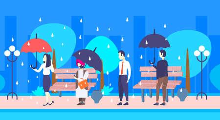 mix race businesspeople holding umbrella unprotected businessman under rain protection concept male female characters full length urban park cityscape flat horizontal vector illustration Vektoros illusztráció