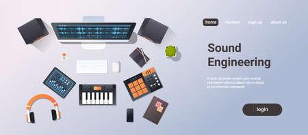 estudio de grabación de música concepto de ingeniería de sonido vista de ángulo superior monitor de escritorio piano mezclador de audio auriculares equipo profesional material de oficina ilustración vectorial horizontal