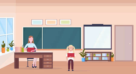 woman teacher sitting at desk schoolgirl reading book education concept modern school classroom interior chalk board female cartoon characters full length horizontal flat vector illustration