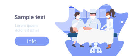 mix race surgeons team surrounding patient lying on operation table during surgery medical workers in operation room copy space horizontal flat full length vector illustration
