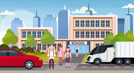 pupils crossing road on crosswalk school building exterior back to school concept cityscape background flat full length horizontal vector illustration