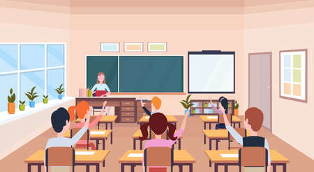 pupils raising hands to answer question teacher sitting desk education concept modern school classroom interior chalk board horizontal flat vector illustration Illustration