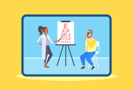 female ophthalmologist checking male patient eyesight doctor in uniform pointing letters at eye chart medicine and healthcare concept oculists office interior horizontal vector illustration
