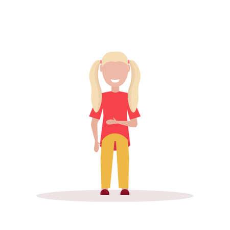 happy blonde girl standing pose little child female cartoon character full length flat white background vector illustration