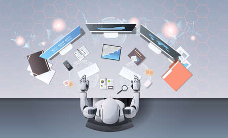 robot using computer monitors typing keyboard at workplace desk office stuff working process top angle view artificial intelligence technology concept horizontal vector illustration Vectores