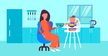 mother feeds her little son with spoon baby sitting in high eating chair child feeding childcare concept modern kitchen interior horizontal full length flat vector illustration