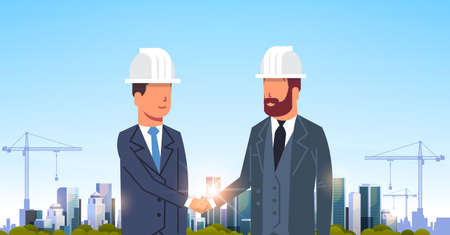 two businessmen builders handshake agreement during meeting over city construction site tower cranes building residential buildings cityscape sunset skyline background portrait horizontal vector illustration