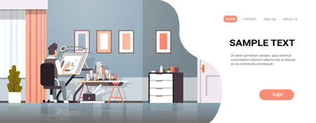 architect drawing blueprint urban building plan on adjustable board panning project concept engineer sitting workplace office draftsman studio interior horizontal full length copy space vector illustration