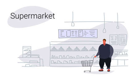 fat overweight man pushing trolley cart buying products in grocery shop food shopping concept modern supermarket interior flat sketch doodle horizontal vector illustration