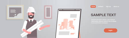 man architect in helmet holding blueprints in rolls engineer showing new drawing building on easel board panning project concept house blueprint horizontal portrait copy space vector illustration