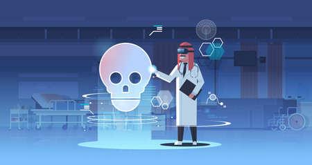 arab doctor wearing digital glasses looking virtual reality skull human organ anatomy healthcare medical vr headset vision concept hospital office interior full length horizontal vector illustration