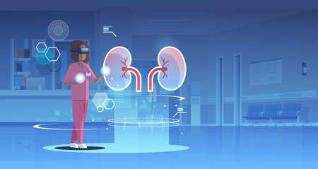 female doctor nurse wearing digital glasses looking virtual reality kidneys human organ anatomy healthcare medical vr headset vision concept clinic hall interior full length horizontal vector illustration