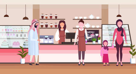 female barista coffee shop worker serving arab people clients giving glass of hot drink waitress standing at cafe counter modern cafeteria interior flat full length horizontal vector illustration Banque d'images - 124381458