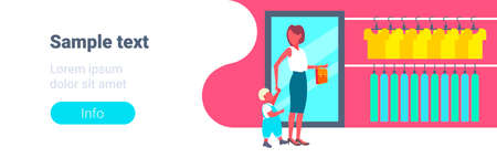 woman with her baby son choosing new clothes young mother and little boy walking big fashion shop boutique modern shopping mall interior horizontal full length copy space vector illustration