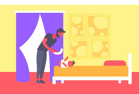father cleaning up his baby son buttocks with wet napkin young man changing babys diaper fatherhood childcare hygiene concept bedroom interior full length horizontal vector illustration