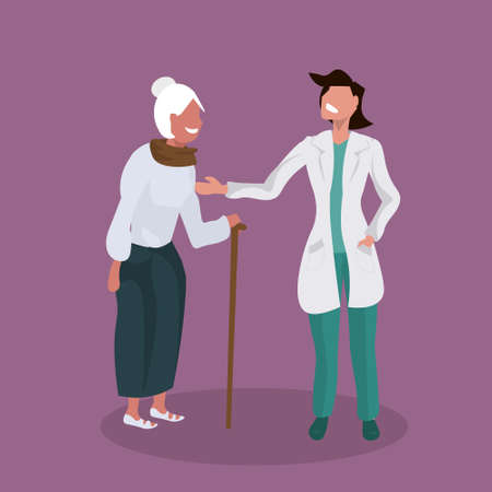 female doctor explaining prescription to senior patient physician supporting elderly woman with walking stick healthcare concept flat full length vector illustration