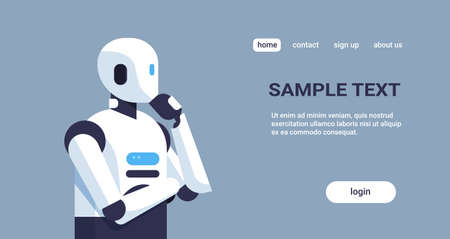 modern robot thinking humanoid holding hand chin pondering artificial intelligence digital technology concept cartoon character portrait horizontal copy space vector illustration