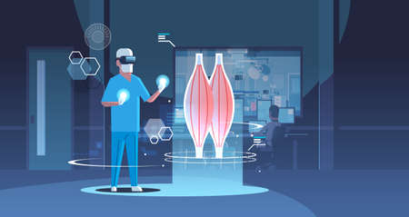 male doctor wearing digital glasses looking virtual reality muscle human organ anatomy healthcare medical vr headset vision concept hospital operating room interior full length horizontal vector illustration Vector Illustration