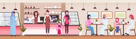 waitresses serving arabic people clients coffee shop workers hospitality service concept modern cafeteria interior flat cartoon characters full length horizontal banner vector illustration 일러스트