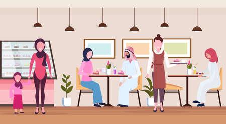 Los visitantes de la gente árabe que se sientan la camarera de la tienda del café moderno que atienden a los huéspedes árabes vistiendo ropa tradicional interior de la cafetería de la panadería personajes de dibujos animados ilustración vectorial horizontal plana de longitud completa