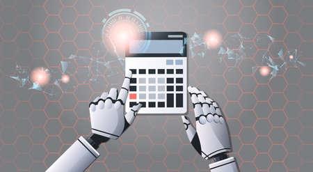 Comptable robot à l'aide de la calculatrice top angle view intelligence artificielle concept de technologie futuriste numérique illustration vectorielle horizontale Vecteurs