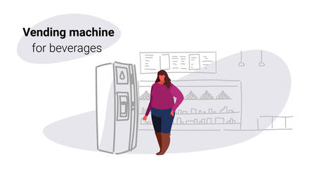 fat obese woman taking beverage from water dispenser over size girl using vending machine big grocery shop modern super market shopping mall interior sketch doodle horizontal vector illustration Stock Illustratie