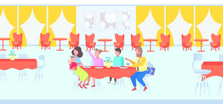 big family parents with children sitting cafe table enjoying the food people visitors having dinner and talking modern restaurant interior full length flat horizontal vector illustration