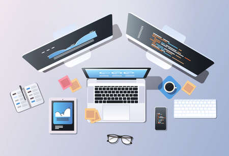 design software development programming concept top angle view desktop computer monitor tablet smartphone laptop screen office stuff horizontal vector illustration Illustration