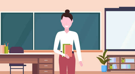 female teacher standing in front of chalk board workplace desk modern school classroom interior cartoon character portrait horizontal flat vector illustration