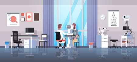 male ophthalmologist checking patient vision doctor in uniform making eye surgery laser correction medicine and healthcare concept oculists office interior horizontal vector illustration Illustration