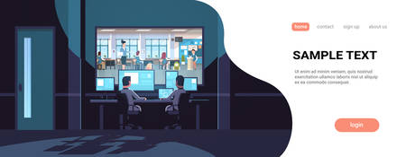 two men looking at monitors behind window teacher with pupils studying in school classroom dark office interior surveillance security system horizontal copy space vector illustration