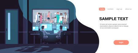 two men looking at monitors behind glass doctors group checking patient running on treadmill cardiology science dark office interior surveillance security system copy space horizontal vector illustration