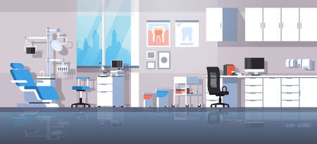 professional dentist workplace chair and tools dental room cabinet tooth care concept modern clinic office interior flat horizontal banner vector illustration