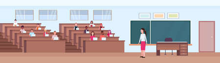 students sitting at desks and listening teacher in auditorium lecture hall theater room interior modern university classroom with rows of seats and chalk board flat horizontal banner vector illustration