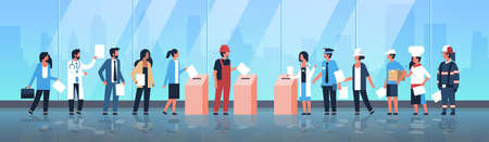 election day concept different occupations voters casting ballots at polling place mix race people putting paper ballot in box during voting full length flat horizontal vector illustration