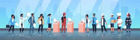 Wahltag Konzept verschiedene Berufe Wähler, die Stimmzettel im Wahllokal abgeben, mischen Rennen Menschen, die während der Abstimmung Papierstimmzettel in die Box legen, während der Abstimmung in voller Länge flache horizontale Vektorgrafik