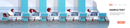 patients lying in bed intensive therapy ward healthcare concept hospital clinic room interior male female cartoon character flat horizontal banner copy space vector illustration 스톡 콘텐츠 - 124310826