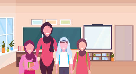 female teacher with arab pupils in hijab standing over chalkboard modern school classroom interior muslim arabian cartoon characters portrait horizontal flat vector illustration Vectores