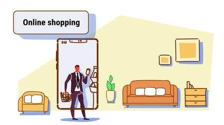 businessman using mobile app online shopping concept man choosing food grocery shop smartphone screen modern living room interior sketch flow style horizontal vector illustration