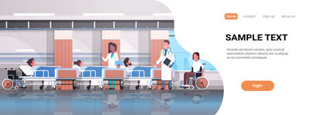 doctors team visiting disabled mix race patients sitting wheelchair lying bed intensive therapy ward healthcare concept hospital clinic room interior horizontal copy space vector illustration Illustration