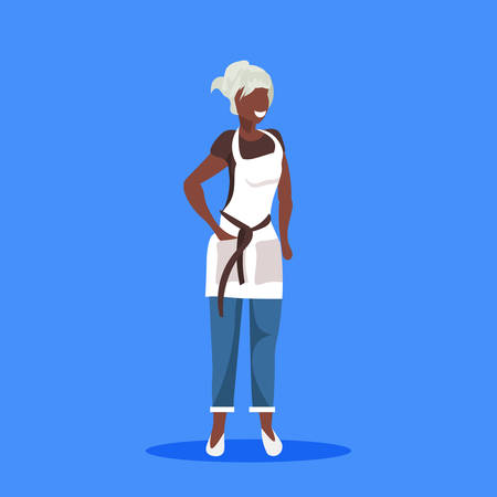 african american saleswoman or waitress wearing apron happy woman professional occupation concept female cartoon character full length flat blue background vector illustration Illustration
