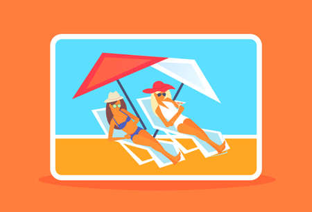 couple bikini women sunbathing girls resting on sun loungers summer vacation luxury resort horizontal full length vector illustration