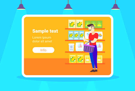 man customer checking shopping list choosing food big grocery shop supermarket interior guy buyer super market concept full length copy space horizontal flat vector illustration Illustration
