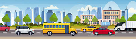 cars and bus driving asphalt road over school building exterior city urban traffic concept cityscape background flat horizontal vector illustration Vectores