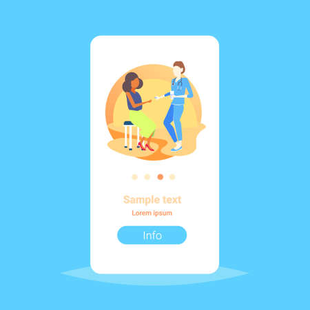 female doctor giving medications pills to african american woman patient consultation medicine and healthcare concept flat copy space vertical vector illustration