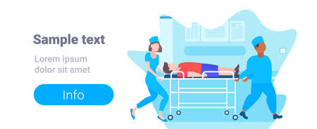 male female doctors moving patient in hospital bed stretcher medical mix race staff in uniform transporting man to operation copy space full length horizontal vector illustration